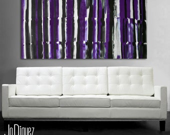 "Original abstract painting. 24x48"" Purple painting. Large canvas art."