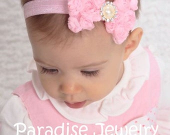 Choose Your Color, Shabby Chic Rosette Bow Headband, Fancy Floral Bow On Elastic Pearl Rhinestone Center Baby Girl Party Outfit