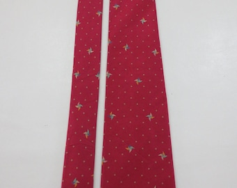 HANAE MORI Polka Dot and Origami Pattern Maroon Red to Pink Silk Necktie C