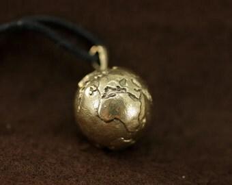 Earth Planet bronze pendant necklace fantasy