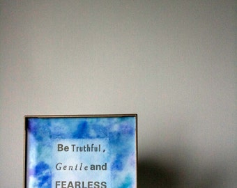 Words to live by... Gold Ink Letter Press Print / Blue Watercolor