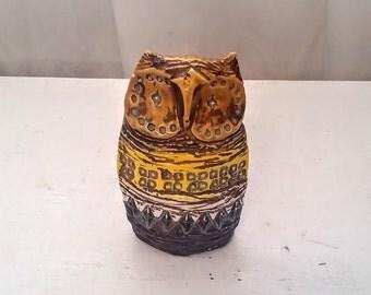 Bitossi Owl Aldo Londi Design / Mid Century Italian Ceramics / Yellow / Brown