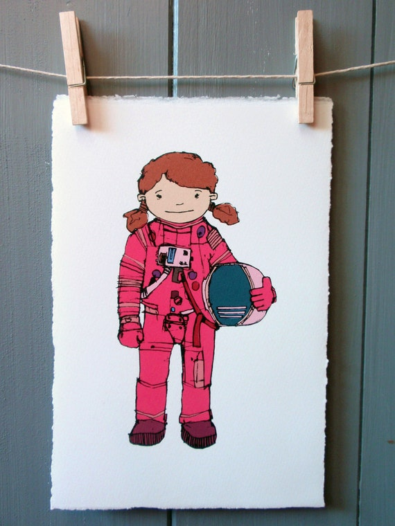 Female Astronaut pink suit. Colourful Original by RossPrints