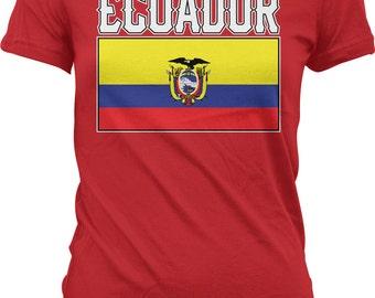 Ecuador Flag Ladies T-shirt, Ecuadorian Flag, Republic of  Ecuador ,Ecuadorian Pride, Junior and Women's Ecuador T-shirts GH_00997