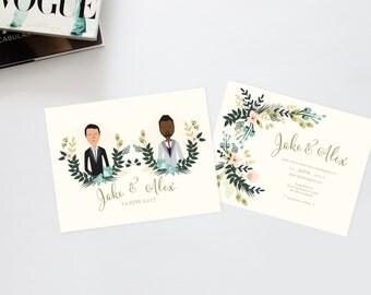 Golden Blush Wedding Invitation Suite /// Couples Portrait /// Family Portrait /// Printable Wedding Invites /// DIY Wedding Invites