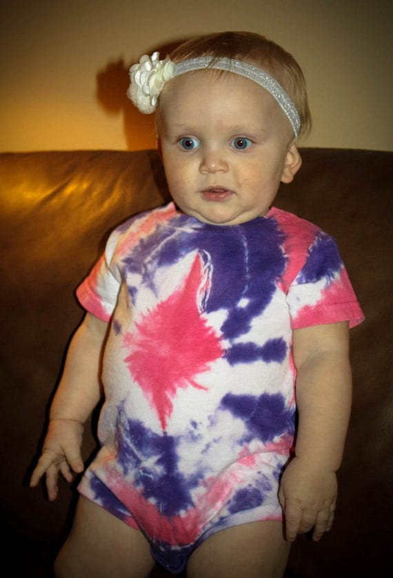 Hand Dyed Baby Pink & Deep Purple Infant Tie Dye