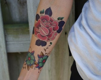 Traditional Pink Rose Hand Drawn Temporary Tattoo