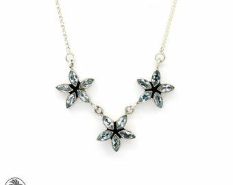 Necklace, Blue Topaz Necklace, Topaz Necklace, Sterling Silver Necklace, Silver Necklace, Topaz Silver Necklace, Flower Necklace | 10002