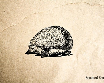 Small Hedgehog Rubber Stamp - 2 x 2 inches