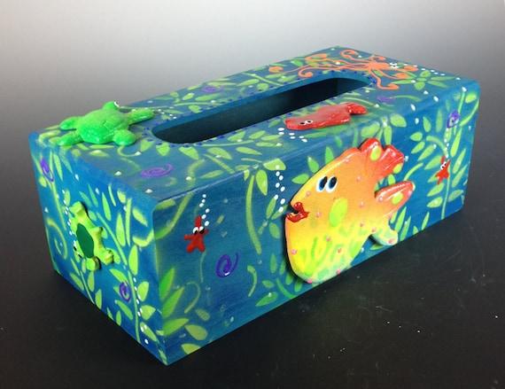 Kleenex box cover beach theme tissue box cover glow in the - Beach themed tissue box cover ...