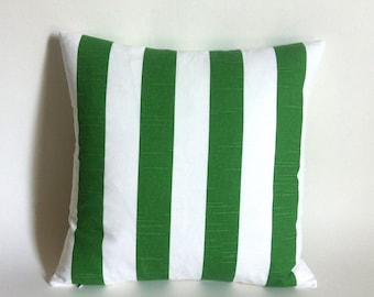 One Green and White Stripe Polo Lounge Pillow Cover Green 18x18 22x22 Lumbar Martinique Beverly Hills Hotel Cushion cover-1EXU