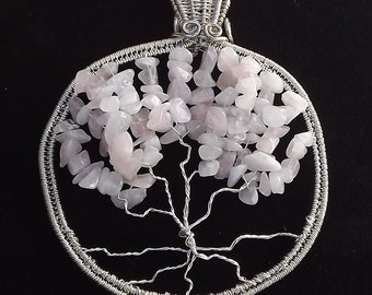Pink/White Tree of Life Large Charm
