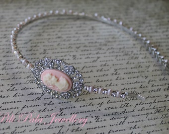 Romantic Diamanté Baby Pink Cameo and Pearl Headband.