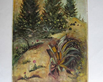 vintage original oil painting landscape, signed
