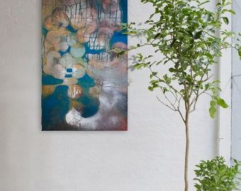 Abstract painting blue, silver modern minimalist large canvas art 39.37/27.5 inches. Blue I.
