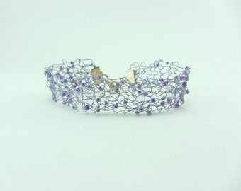Lilac beaded knitted wire cuff, Hand knitted bracelet, Jewellery