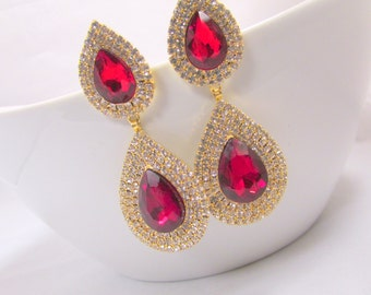 Red CZ Studded Stament Chandelier Earrings