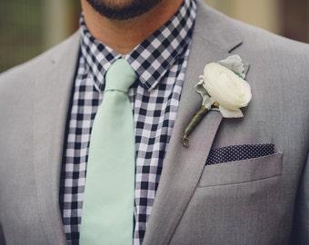 Mint tie ,mint cotton neck tie for men, weddings,floral mint tie,mint plaid necktie mint and gold