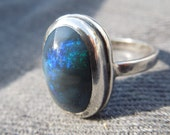 Ocean Fire Black Opal Ring, size 6.5. Handmade Blue and Green on Black Opal Ring in Sterling Silver. Natural Lightning Ridge Gem Hand Cut.