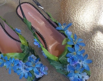 Leafy Green and Blue Flower Fairy Shoes, Adult Fairy Costume, Cosplay Shoes, Wedding Flower Footwear, Bridal Slippers, Elf Slippers