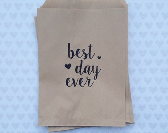 Best Day Ever Kraft Paper Bags - Wedding Paper Bags