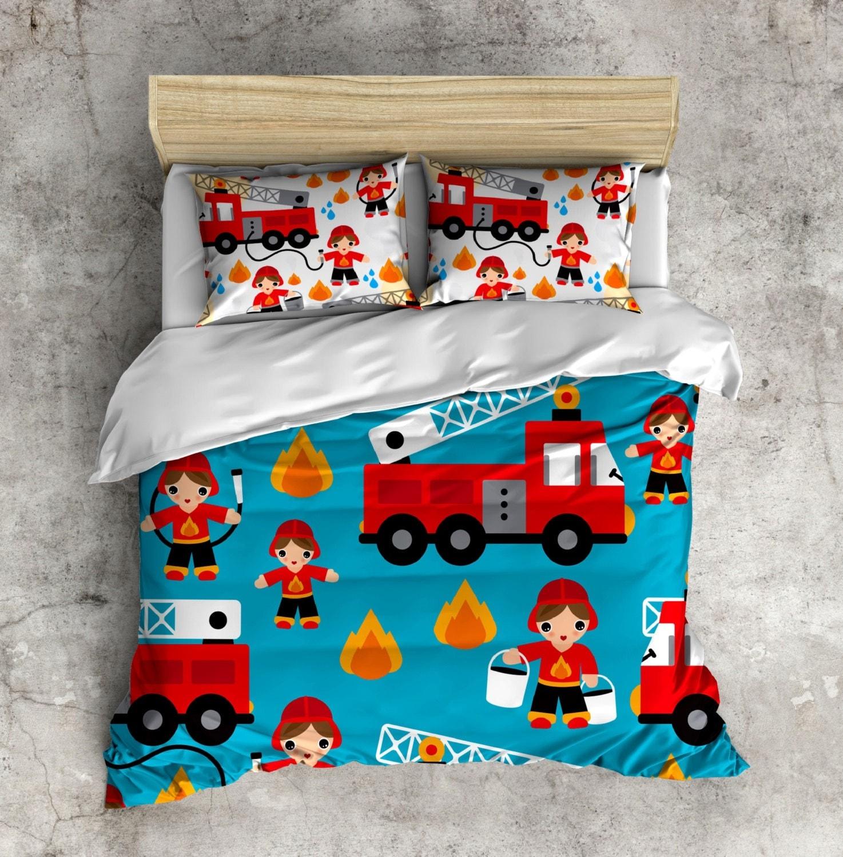My 1st Big Boy Bed Set Fireman Bed Set Firetruck By Inkandrags