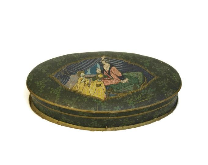 French Antique Bonbon Box. Art Deco Chocolate Box. French Advertising Sweet Box.