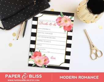 PRINTABLE Modern Romance - Bride Advice Cards