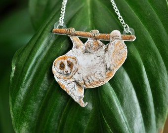 Slow Loris Hanging from a Branch Necklace - Hand Drawn Shrink Plastic Jewellery