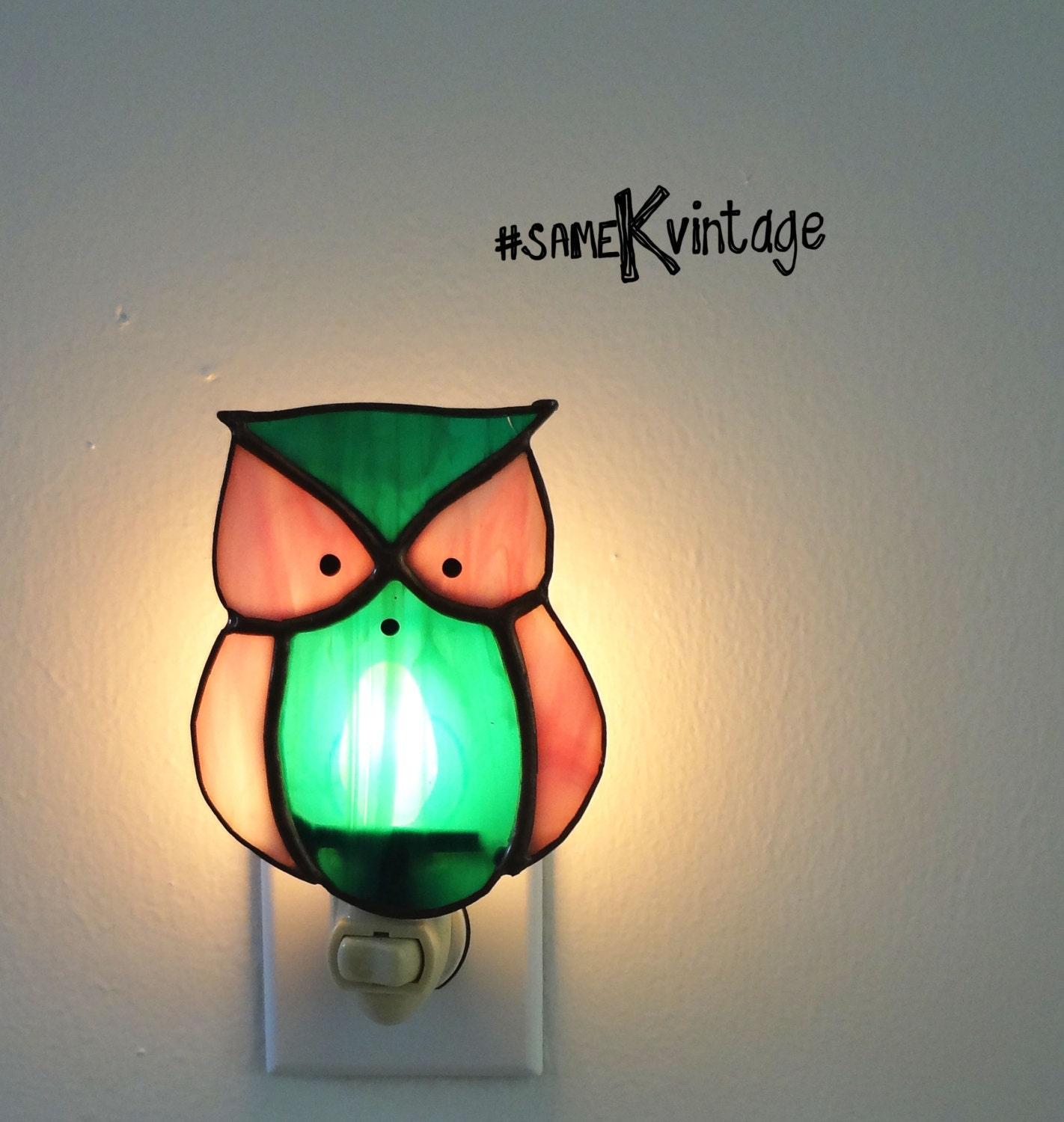 Stained Glass Owl Night Light Pink Green Nice By
