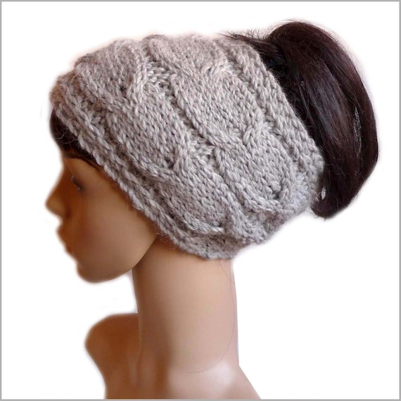 Alpaca Headband Knitting Pattern : Baby Alpaca Cable Knit Headband Dreadband Hand Knitted Ear