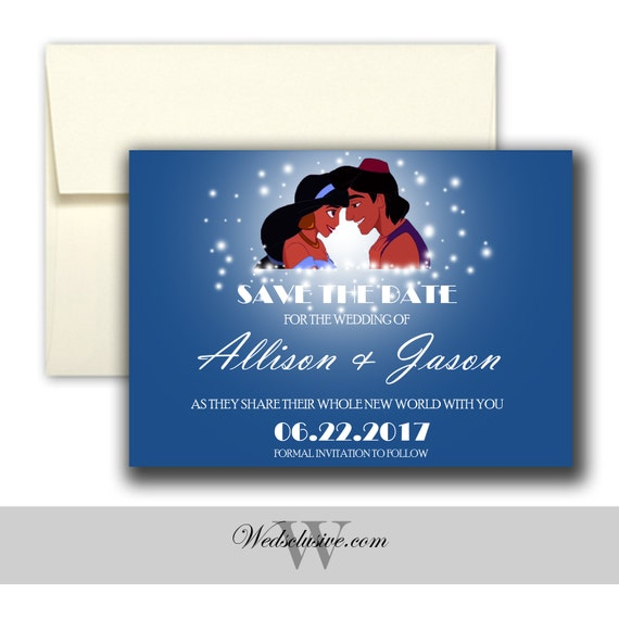 Aladdin And Jasmine Save The Date Disney Weddings Fairytale