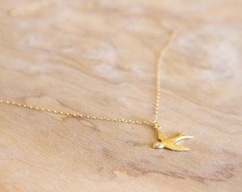 Gold Sparrow Necklace - 14k Gold Filled Necklace - Bird Necklace - Gift For Her - Thin Necklace - Gold Charm - Bird Charm Necklace - Pendant