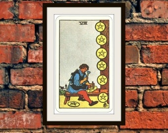 Small or Medium Eight of Pentacles Rider-Waite-Smith Tarot Card Deck Vintage Retro 1910 Art Reproduction Print Poster