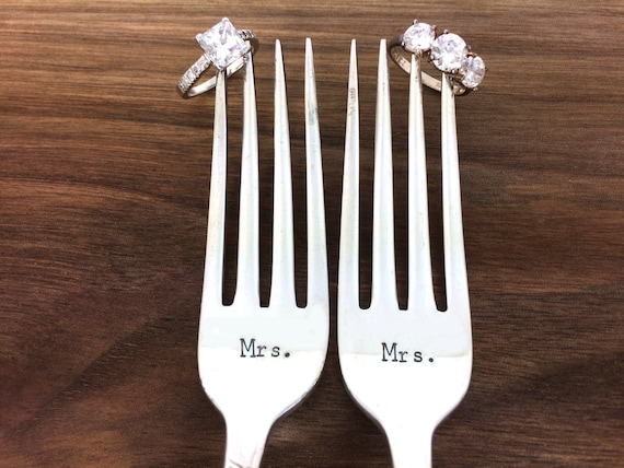 Same Sex Wedding Gift Ideas: Same Sex Wedding Gift Wedding Forks Mrs. Mrs. Forks Hand