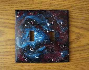 hand-painted nebula double light switch cover