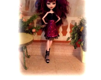 "Handmade Original Sized  Monster High Clothes ""It's My Party"" by Muriel. Pink and Black Dress & Hair Ribbon.   Dress closes with Snaps."