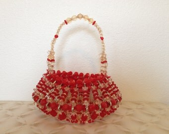 Vintage Bead Basket - red and transluscent beads - safety pins - hand made craft