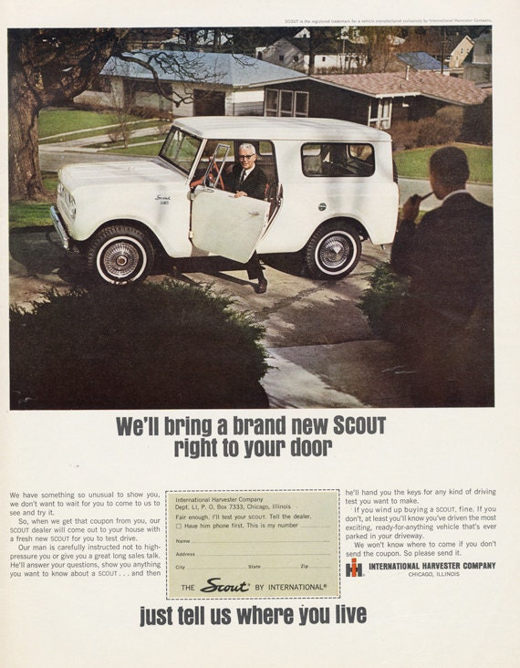 1965 international harvester scout ad automobile by for International harvester wall decor
