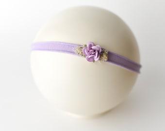 Flower Headband, Lavender Tieback, Lavender Headband, Lavender, Newborn Tieback, Jersey Tieback, Flower Tieback, Newborn Headband