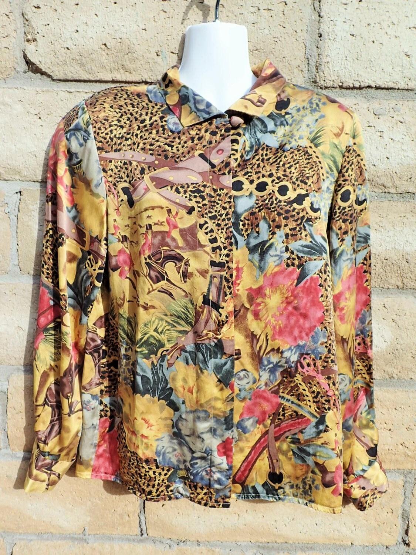 80 s doncaster 100 silk unique womens top blouse shirt