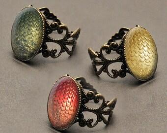 Game of Thrones dragon egg ring with glass cabochon – Daenerys Targaryen dragons – Viserion –Rhaegal – Drogon