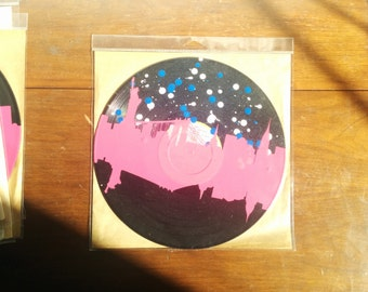 LP NYC Skyline (Pink vinyl and blue and white paint spots)