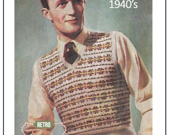 1940s mans Fair Isle Pullover Vintage Knitting Pattern - Instant Download
