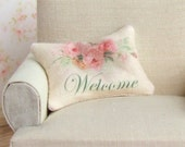 Dollhouse Miniature, Welcome Cushion, Dolls House Pillow, Living Room, Home Decor, Shabby Cottage Chic, 1:12th Scale