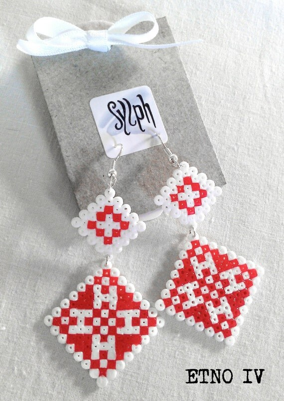 Earrings made of Hama Mini Beads - Etno IV