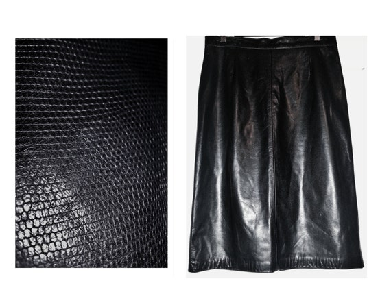 black leather skirt danier vintage knee by vintageuptohere