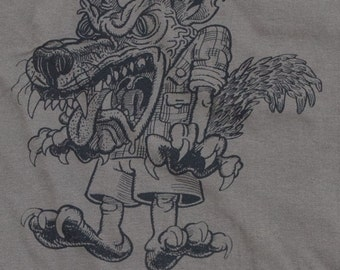 Funny T-shirt made by Antù Design of the Big Bad Wolf, size M