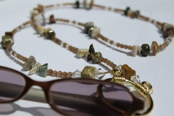 Eyeglass Necklace, Ocean Jasper Necklace For Glasses, Eyeglass Chain, Beaded Holder, Healing Stone Reading Glasses, Brown Eyeglass Chain