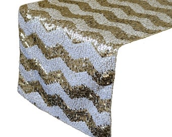 YCC Linen - 14 X 108 Inch Chevron Sequin Table Runner White And Champagne